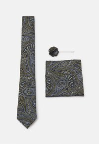 Burton Menswear London - TIE POCKET SQUARE AND PIN SET - Kravata - black - 0