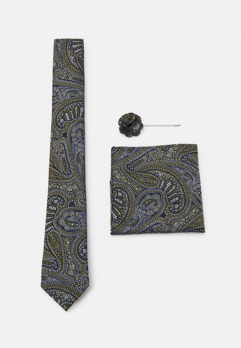 Burton Menswear London - TIE POCKET SQUARE AND PIN SET - Kravata - black