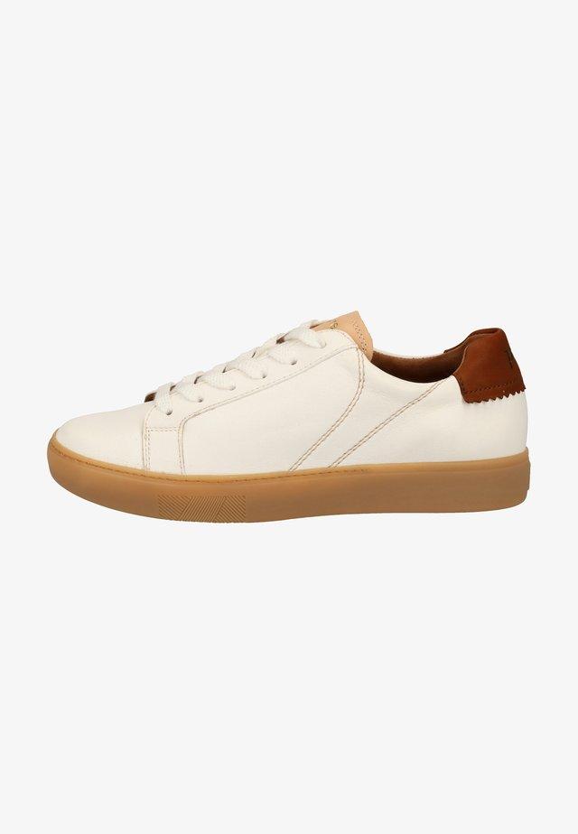 Sneakers laag - weiß/cognac-braun 027