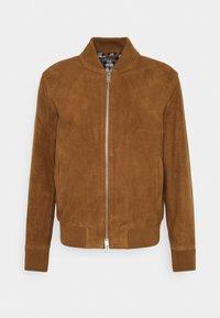 SLHBROKE - Leather jacket - rubber