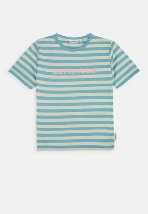 LEUTO TASARAITA - T-shirt print - turquoise/white