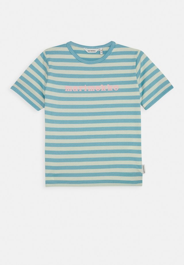 LEUTO TASARAITA - Print T-shirt - turquoise/white