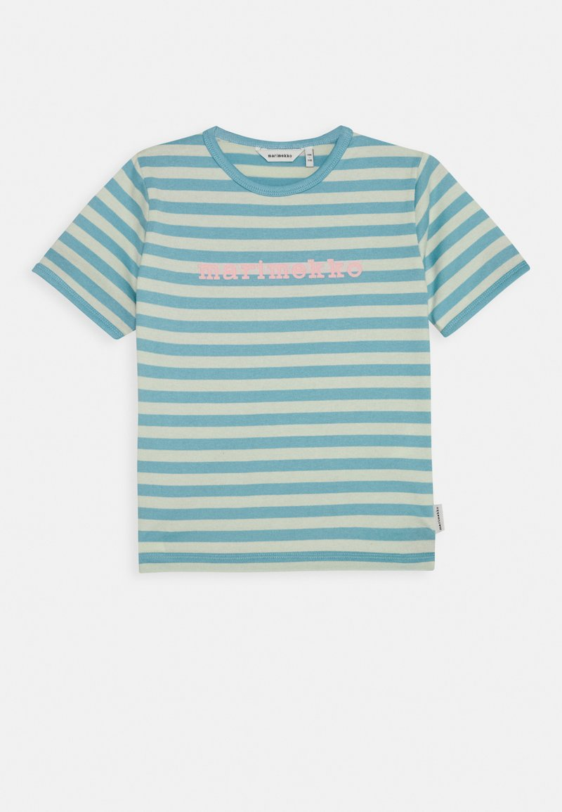 Marimekko - LEUTO TASARAITA - T-shirt imprimé - turquoise/white