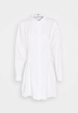 CORSET WAIST BACK SHIRT DRESS POPLIN - Vestido camisero - white