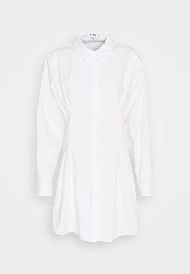 CORSET WAIST BACK SHIRT DRESS POPLIN - Skjortekjole - white