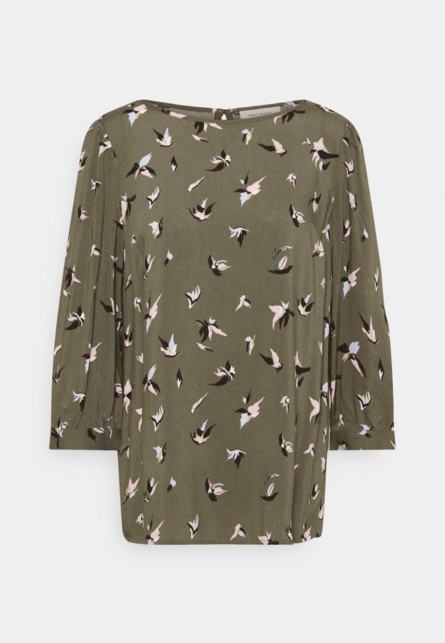 Long sleeved top - dusty olive mix