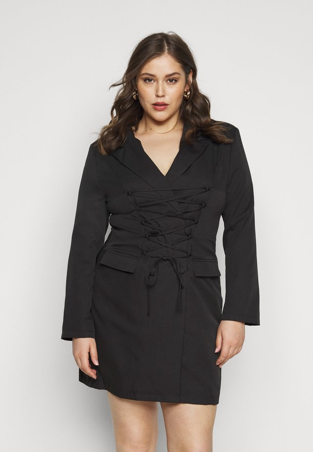 LACE UP FRONT BLAZER DRESS - Day dress - black