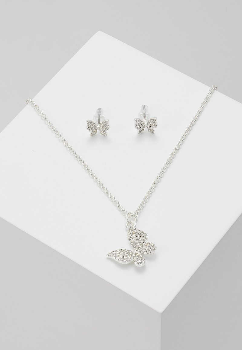 SNÖ of Sweden - BELIZE BUTTERFLY PENDANT SET - Korvakorut - silver-coloured/clear