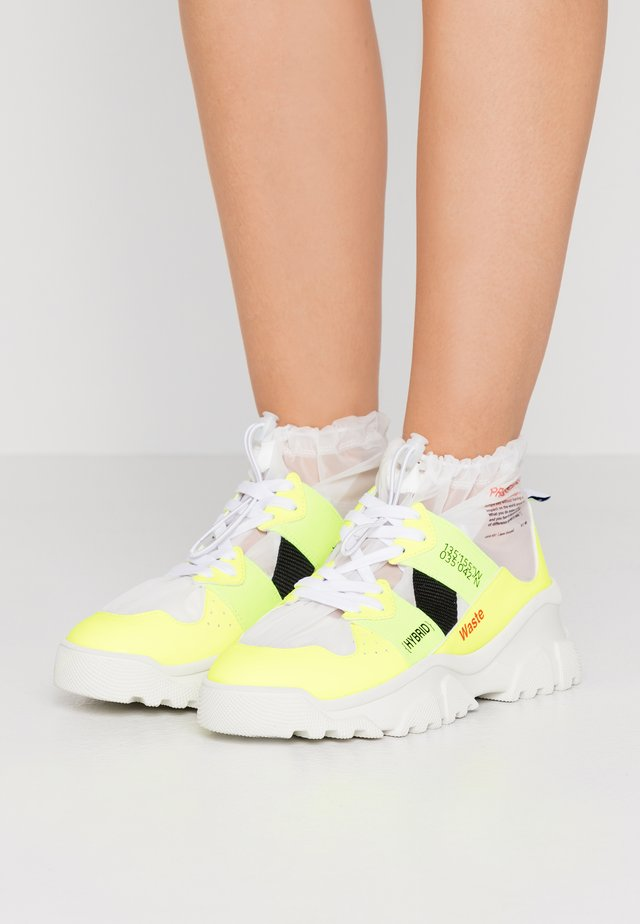 Sneakers hoog - fluo yellow/transparent