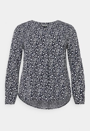 BLOUSE WITH PLEAT DETAIL - Blouse - navy flowers and dots