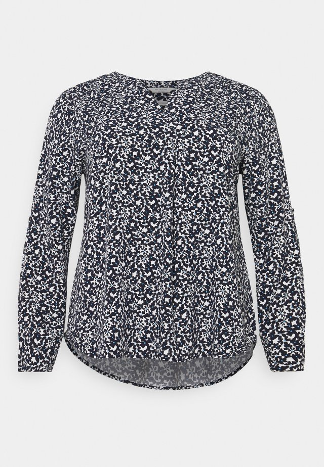 BLOUSE WITH PLEAT DETAIL - Pusero - navy flowers and dots