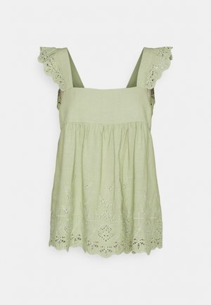 LIZA EMBROIDERED BABYDOLL TANK - Top - green