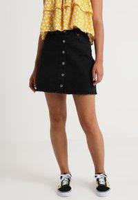 TWINTIP - Mini skirt - black denim - 0
