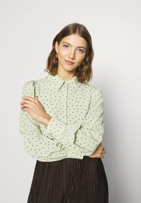 Monki - NALA BLOUSE - Button-down blouse - green dusty light - 3