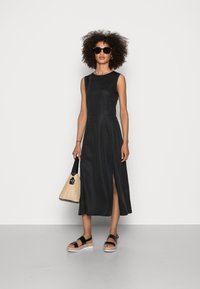 Marc O'Polo - DRESS FEMININE SILHOUETTE CUTLINES SLITS MIDI LENGTH - Day dress - dusty black - 1