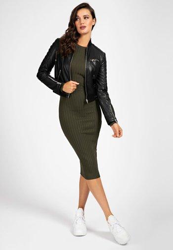 RIPP-KRAGEN - Faux leather jacket - schwarz