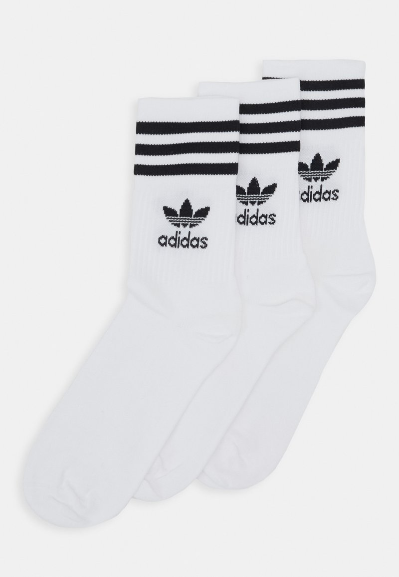 adidas Originals - MID CUT UNISEX 3 PACK - Strumpor - white/black