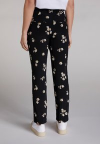 Oui - Trousers - black offwhite - 2