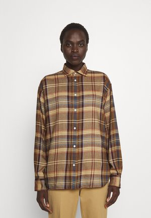 LONG SLEEVE BUTTON FRONT - Button-down blouse - brown/blue