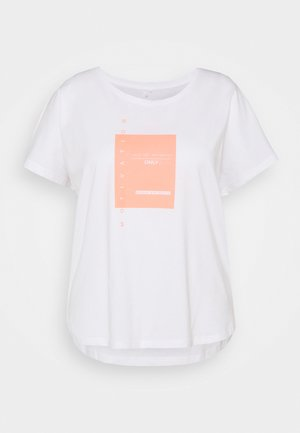 ONPMAGNY LIFE LOOSE SLIT - Camiseta estampada - white with neon orange