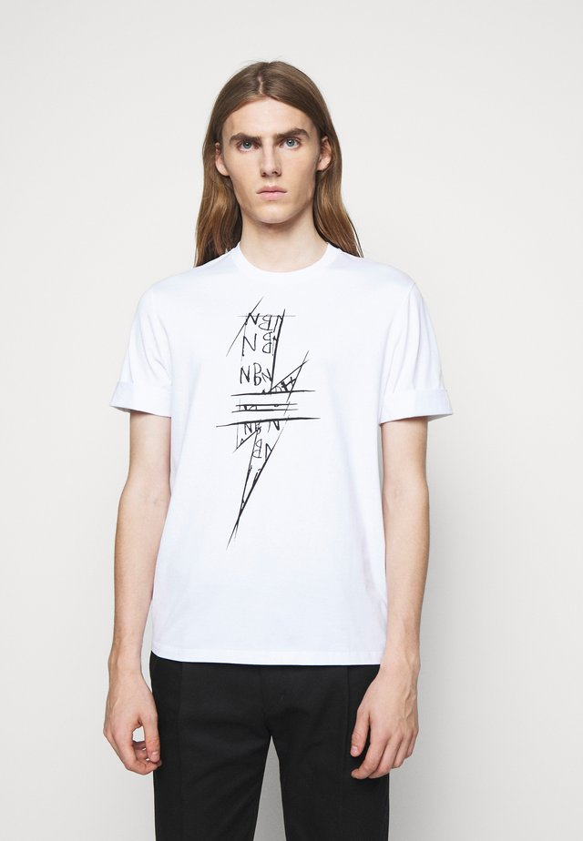 SCRIBBLE BOLT - T-shirt imprimé - white/black