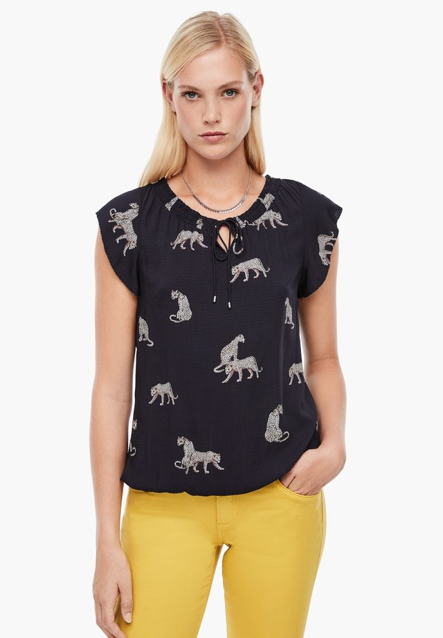 Blouse - dark blue aop leopard