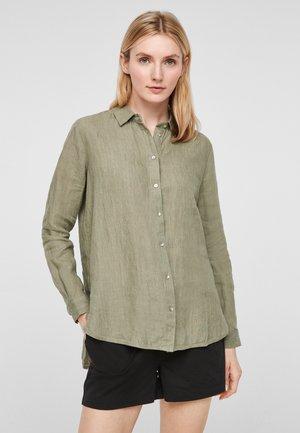 Button-down blouse - summer khaki melange