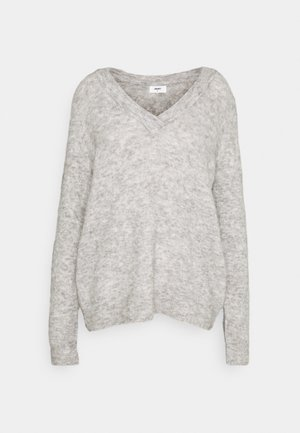 OBJNETE V NECK - Jumper - light grey melange
