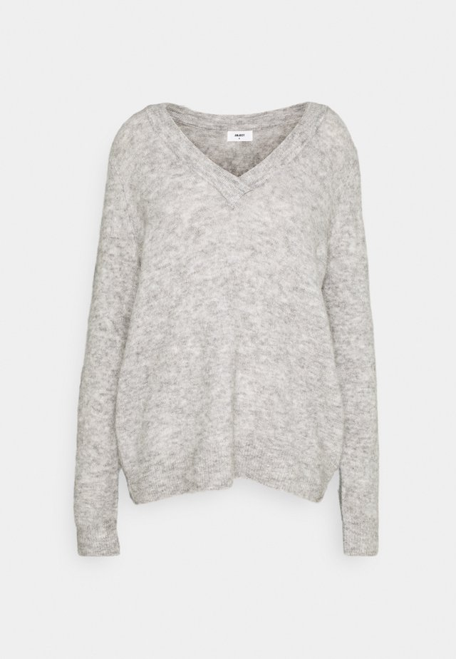OBJNETE V NECK - Maglione - light grey melange