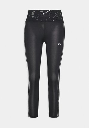 ONPSILVER 7/8 TRAINING - Leggings - black/gun metal