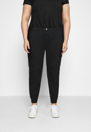PLUS SIZE PLAIN TROUSER - Cargo trousers - black