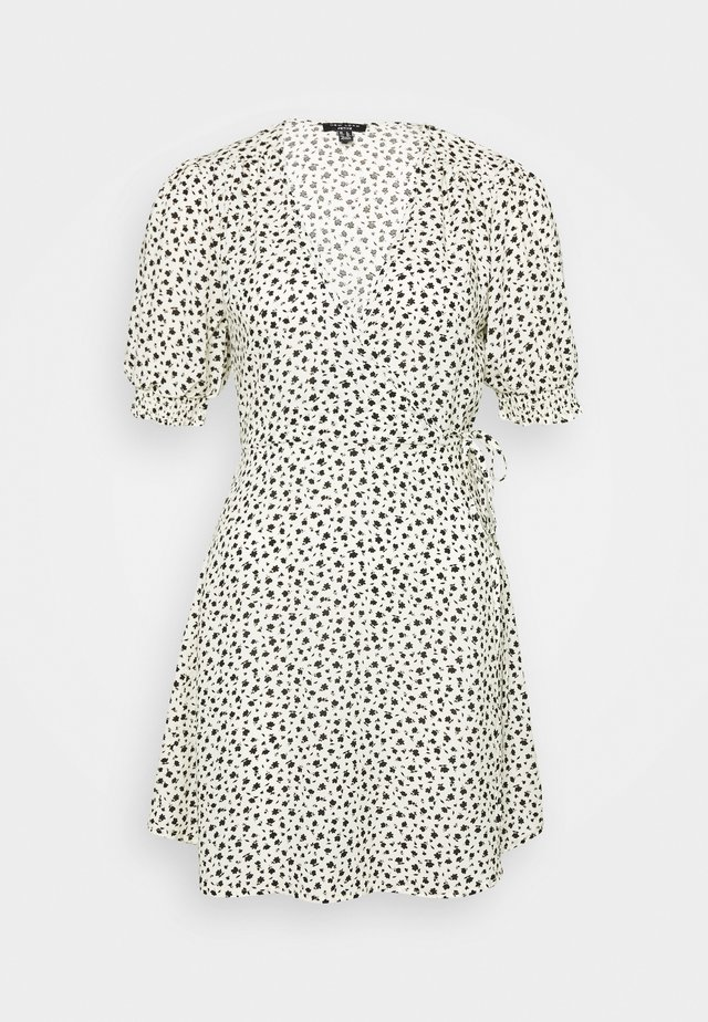 GEORGIE SHIRRED CUFF WRAP MINI - Day dress - white
