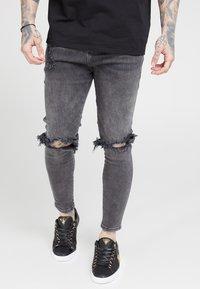 SIKSILK - DISTRESSED SLICE KNEE - Skinny džíny - dark grey - 0