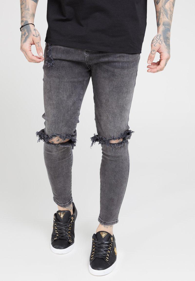 SIKSILK - DISTRESSED SLICE KNEE - Jeans Skinny Fit - dark grey