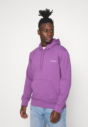 HOODED SCRIPT EMBROIDERY - Sweatshirt - aster/white