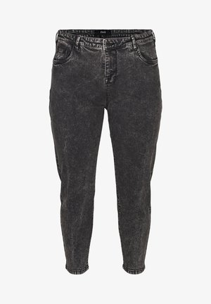 WITH A HIGH WAIST - Jeans slim fit - black