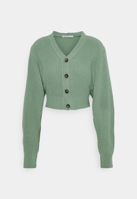 Glamorous Petite - CROPPED WITH LOW V NECK AND PUFF LONG SLEEVES - Cardigan - sage - 0