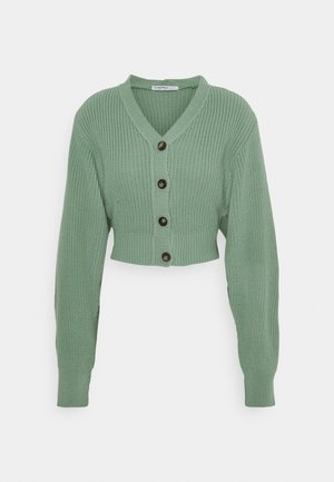 CROPPED WITH LOW V NECK AND PUFF LONG SLEEVES - Cardigan - sage