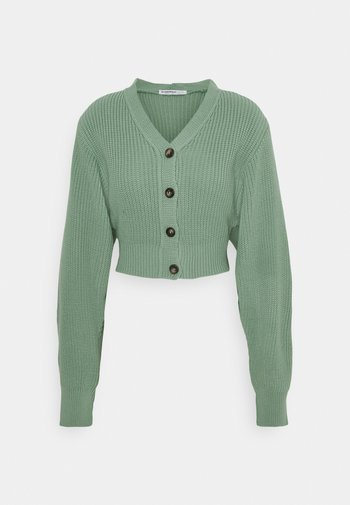 CROPPED WITH LOW V NECK AND PUFF LONG SLEEVES