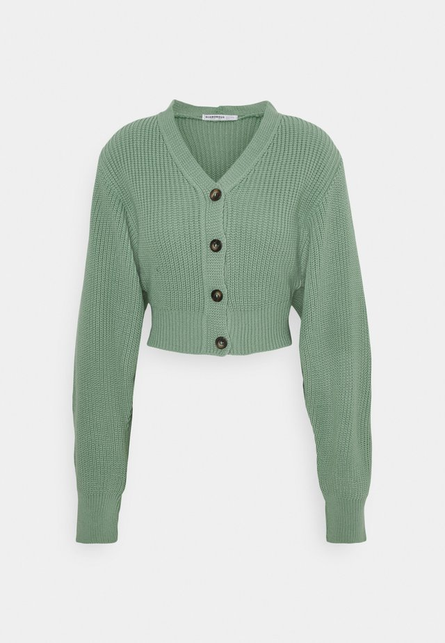 CROPPED WITH LOW V NECK AND PUFF LONG SLEEVES - Gilet - sage