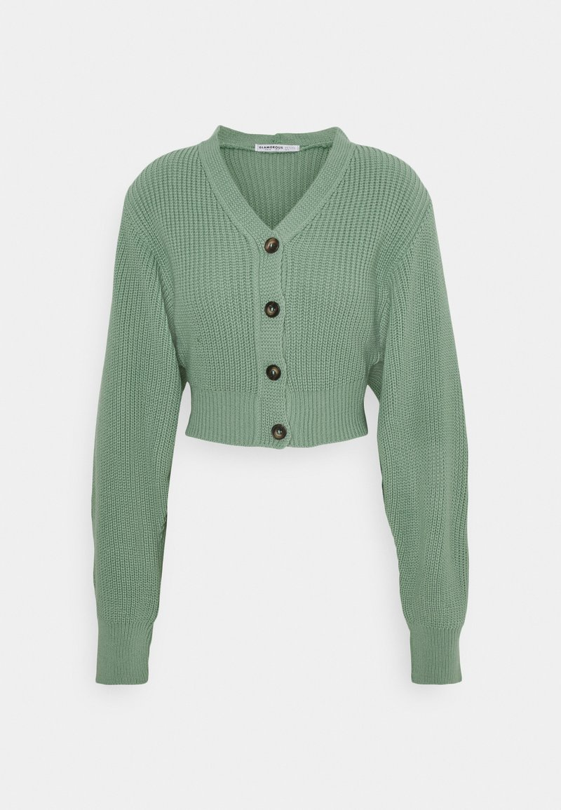 Glamorous Petite - CROPPED WITH LOW V NECK AND PUFF LONG SLEEVES - Cardigan - sage