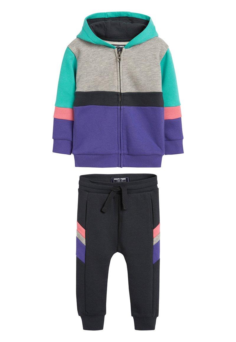 Next - MULTI COLOURBLOCK HOODY/JOGGERS SET (3MTHS-7YRS) - Zip-up hoodie - purple