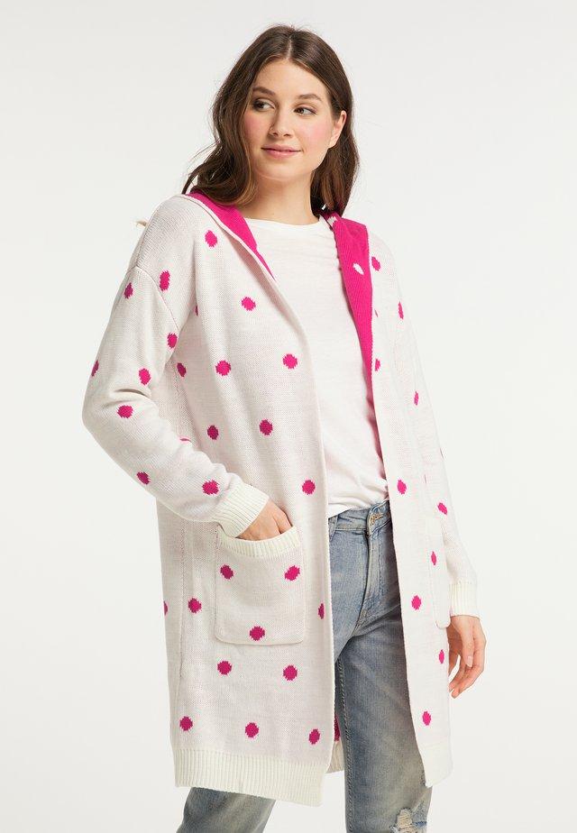 Kardigan - wollweiss pink