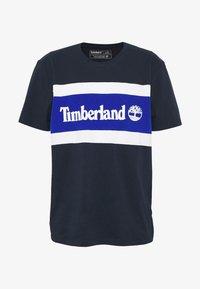 Timberland - CUT SEW COLORBLOCK TEE - T-shirt z nadrukiem - dark sapphire - 4