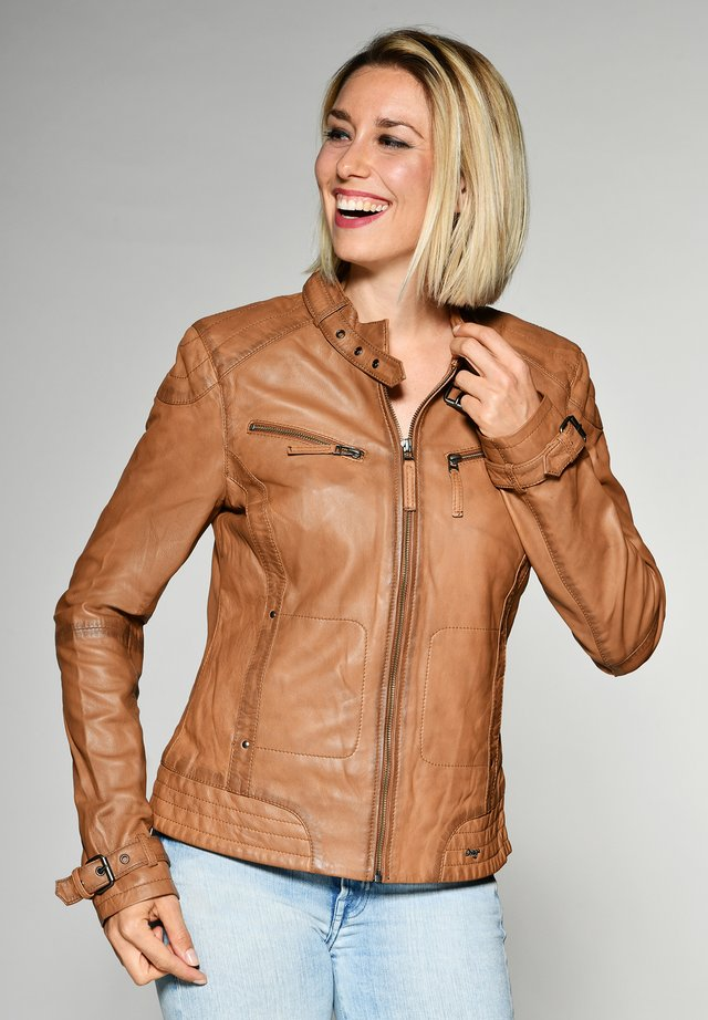 RYANA - Leather jacket - cognac