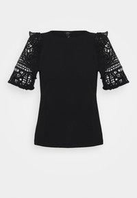River Island - CROCHET FRILL SLEEVE TOP - T-shirts - black - 4