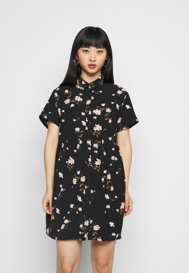 SMOCK DRESS FLORAL - Vestido camisero - black