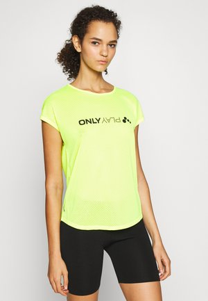 ONPJACEI LOOSE TRAINING TEE TALL - Print T-shirt - safety yellow/black
