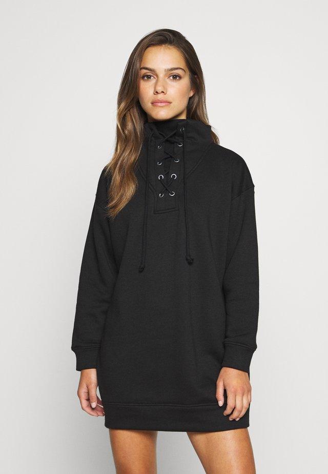 LACE UP MINI DRESS - Vapaa-ajan mekko - black