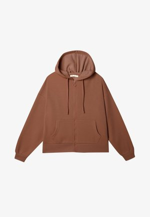 MIT KAPUZE - veste en sweat zippée - dark brown
